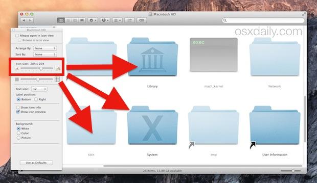 Enlarge icons in Mac OS X folder windows