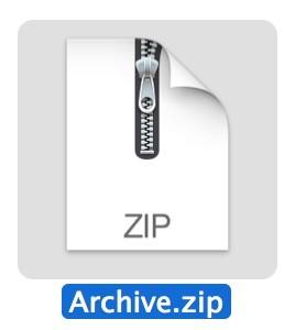 Zip archive in Mac OS X.