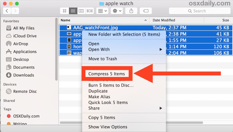 Compress files into a compressed archive in Mac OS X.