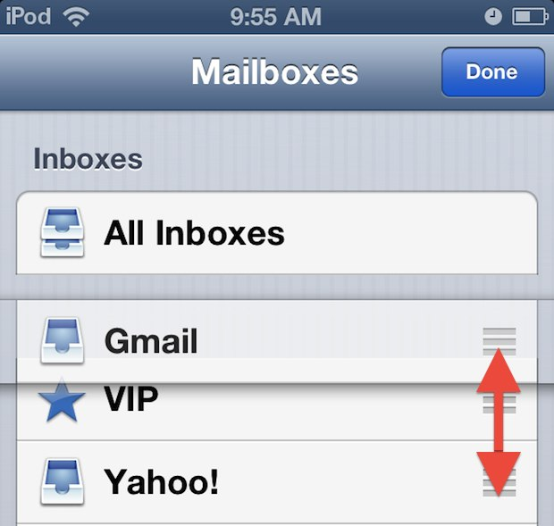 Rearrange mailboxes in interfaces