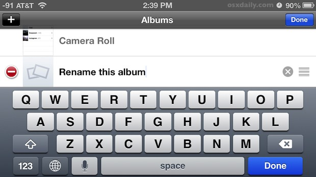 Rename the photo album on iPhone and iPod touch