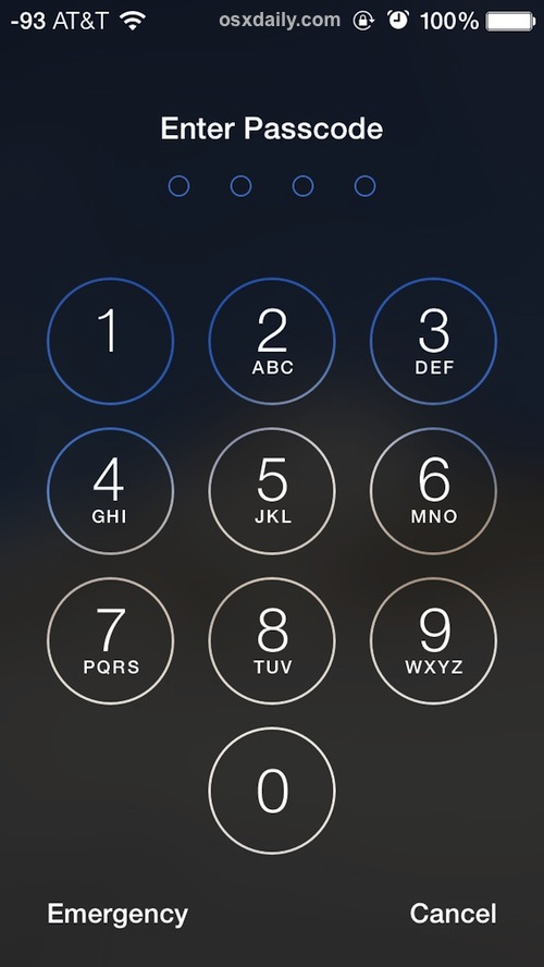 Password entry screen on a locked iPhone
