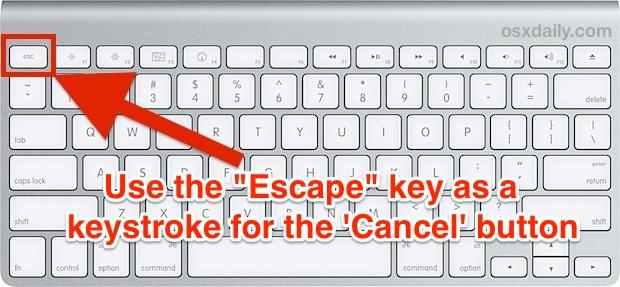 Escape key as a cancel button in Mac OS X.