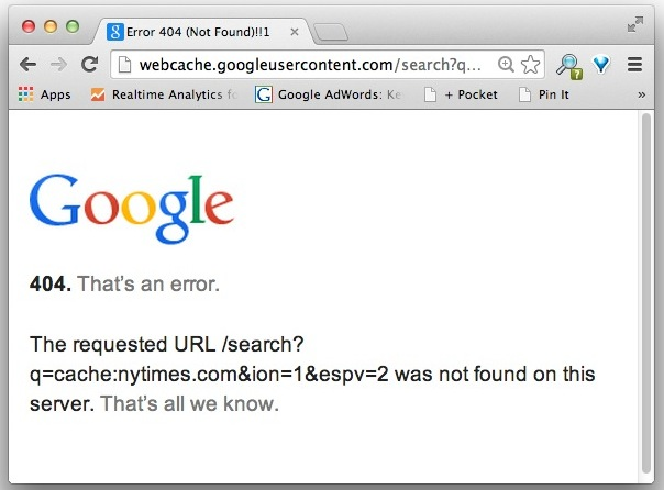 Google cache error page for NYTimes