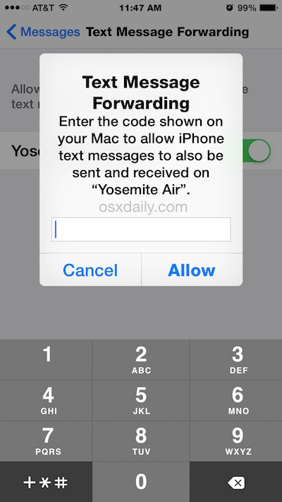 Confirm SMS forwarding to send and receive text messages from your Mac via iPhone