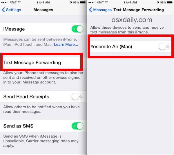 Enable text messaging on your Mac from iOS