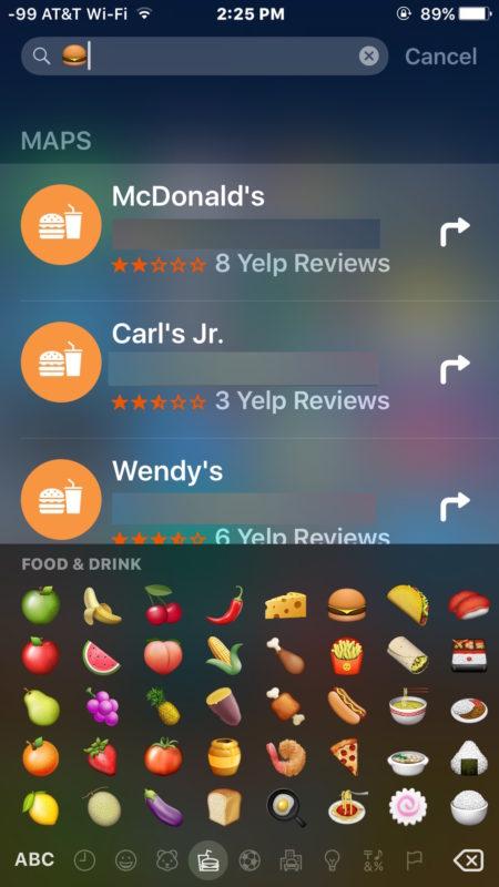 Find burger restaurants in the spotlight with Emoji
