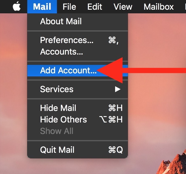 Mail add account to add new email to your Mac