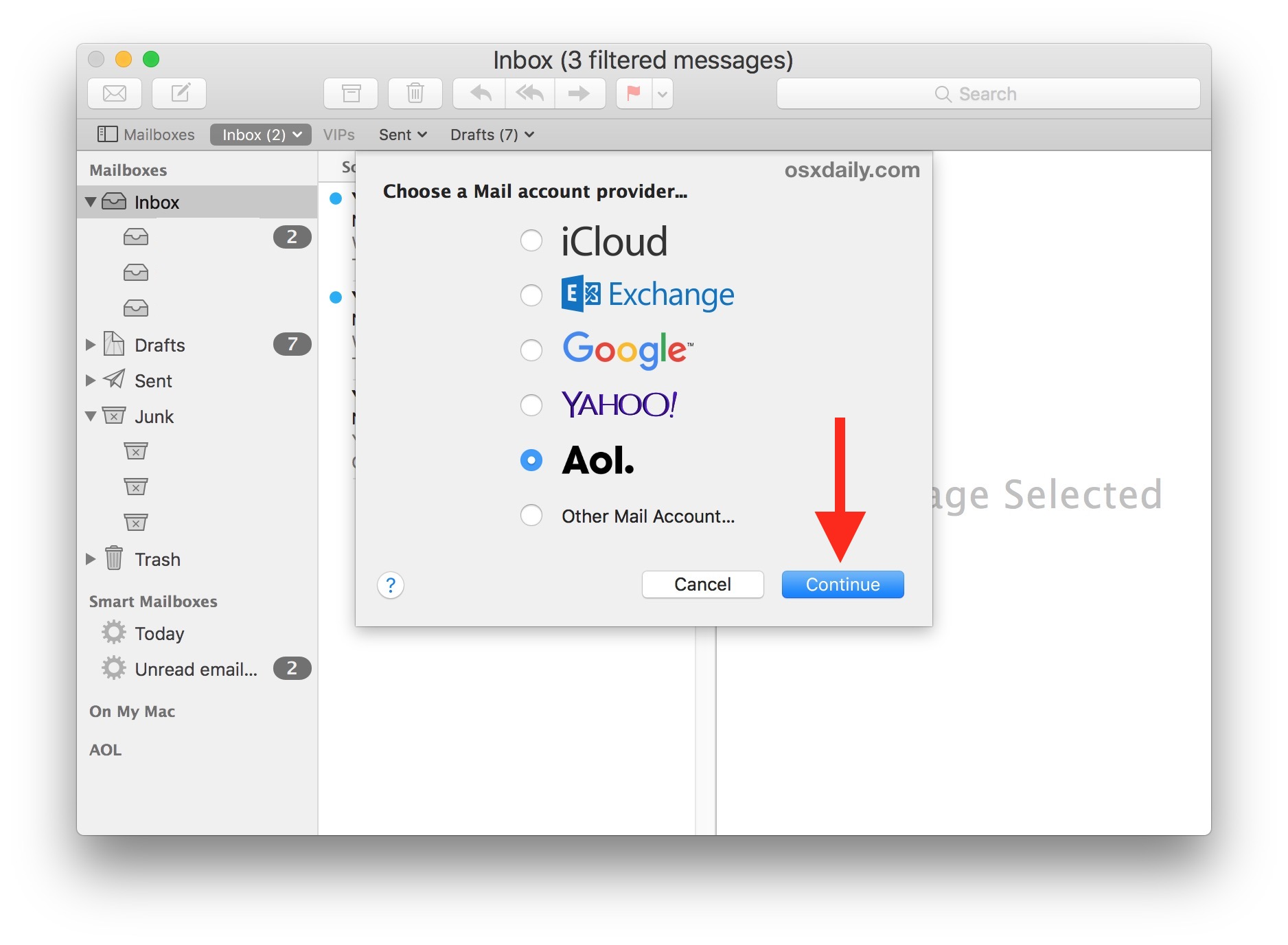 Select the email account you want to add to your Mac