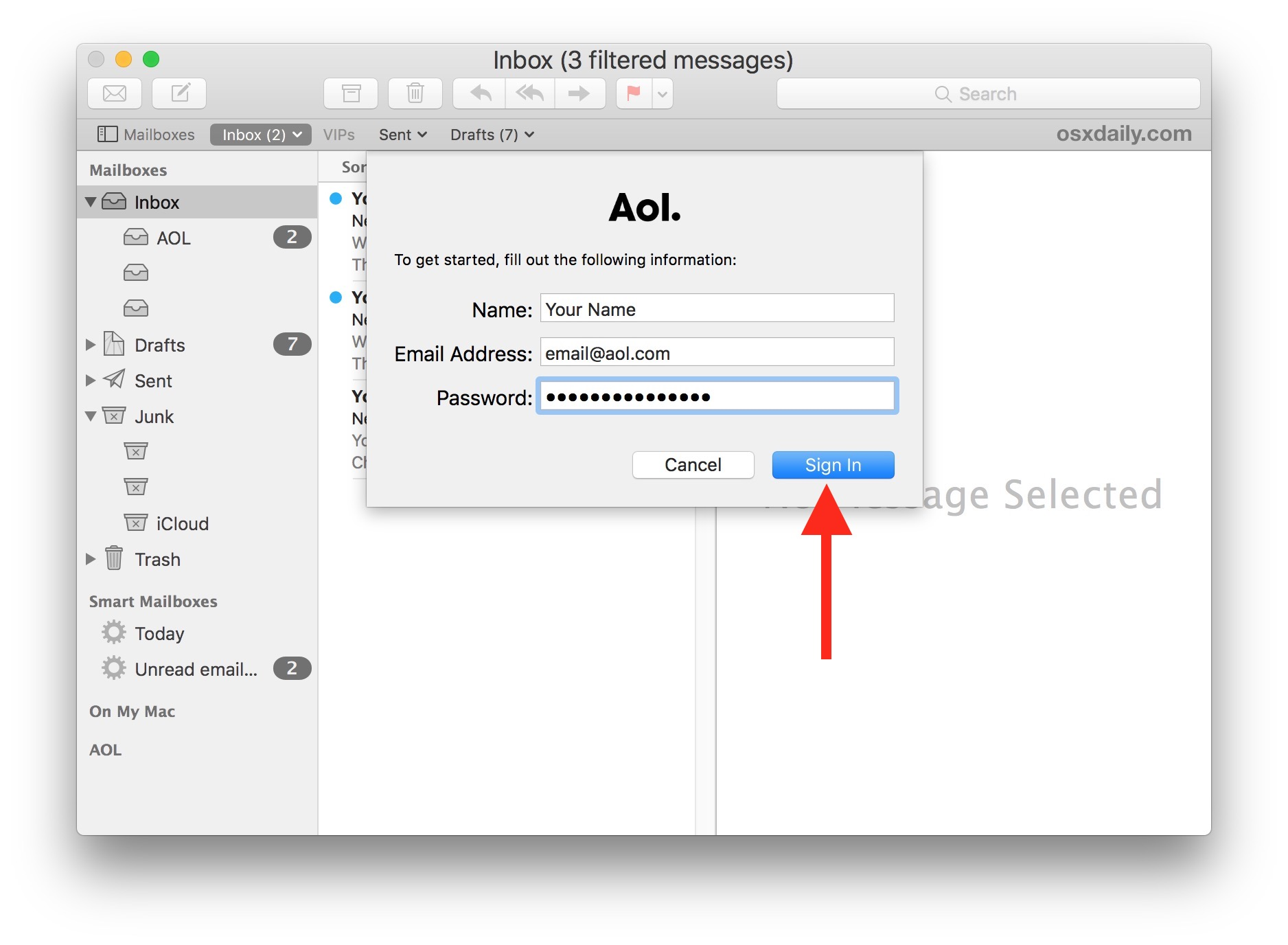 Sign in to your email account to add it to Mac Mail