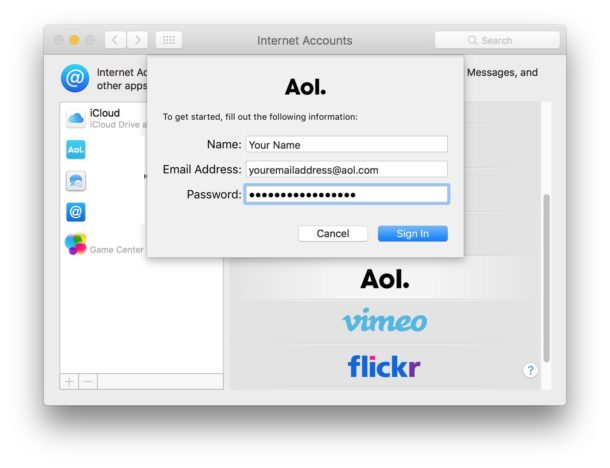 Add an email account to your Mac from the Internet account system