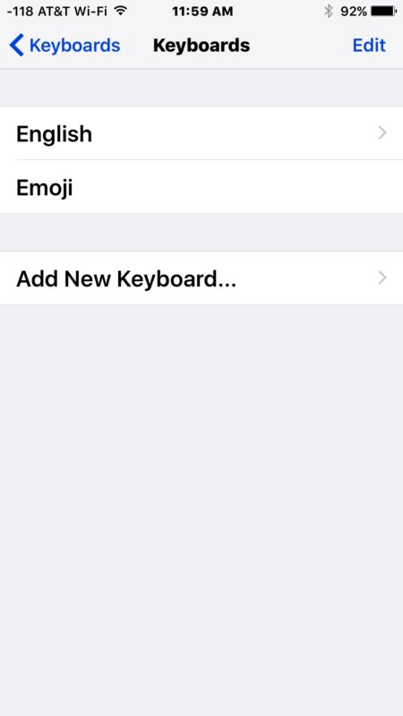 Removed keyboard language from iOS