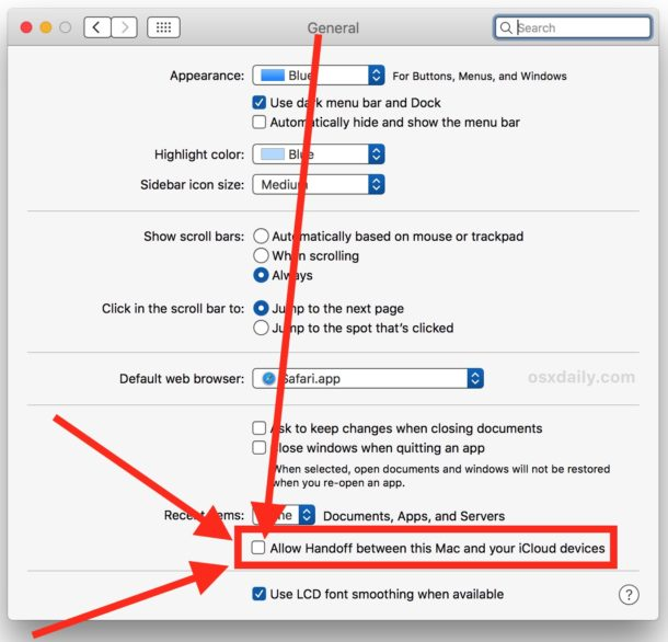 Disable handover on a Mac