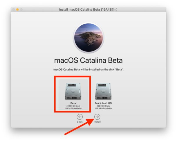 Select the correct APFS drive where MacOS Catalina will be installed