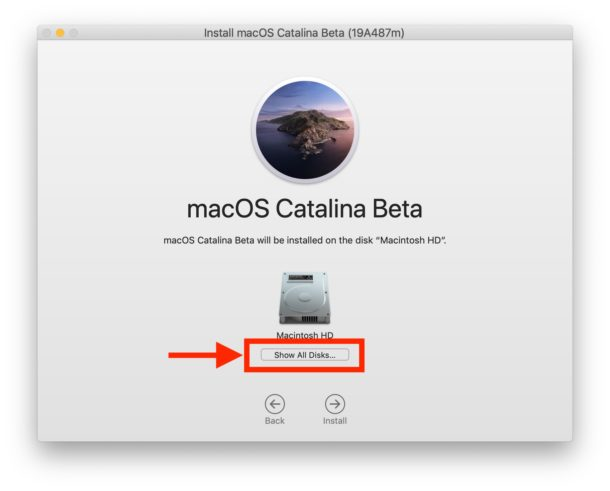 Click Show All Disks to find another disk where Catalina will be installed
