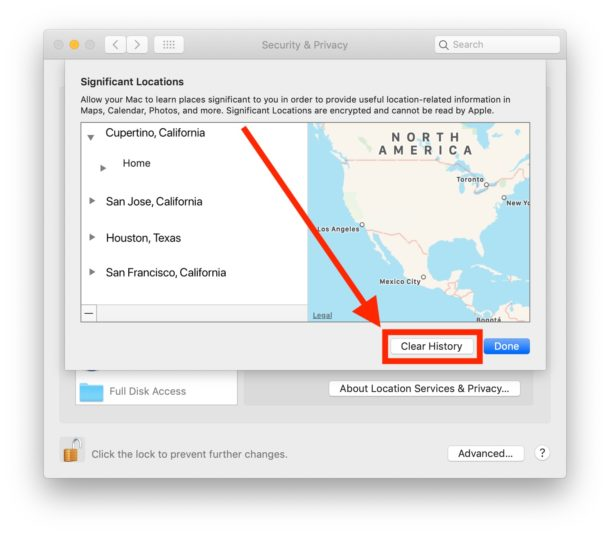 Clear and disable significant locations on your Mac