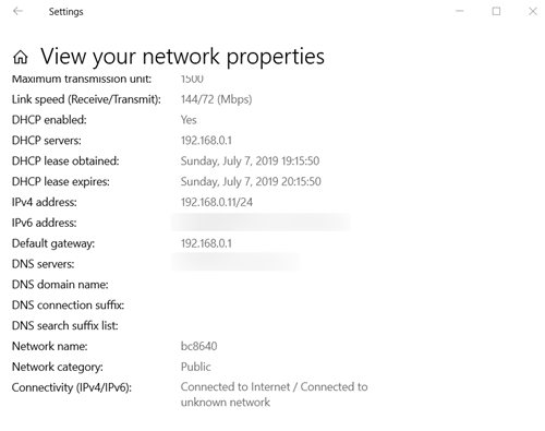 View the properties of your network