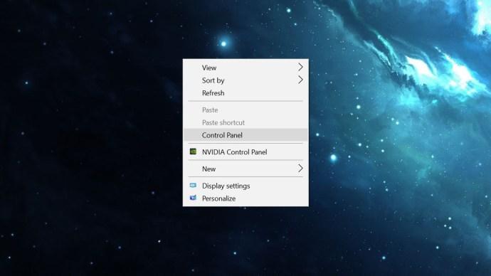 right click control panel windows 10