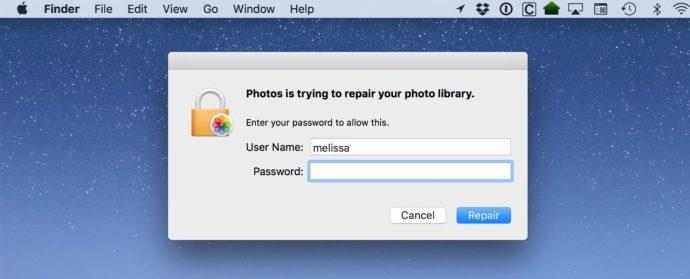 repair photo library password