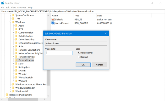 disable registry from lock screen windows