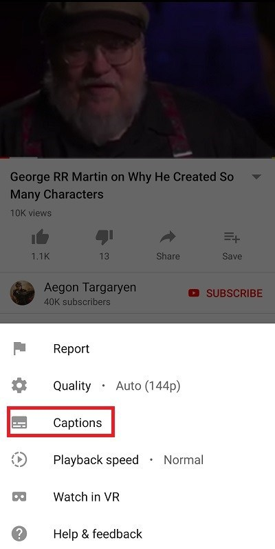 Activate Android subtitles