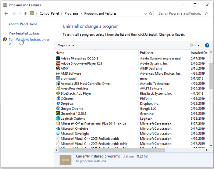 Enable or disable Windows features