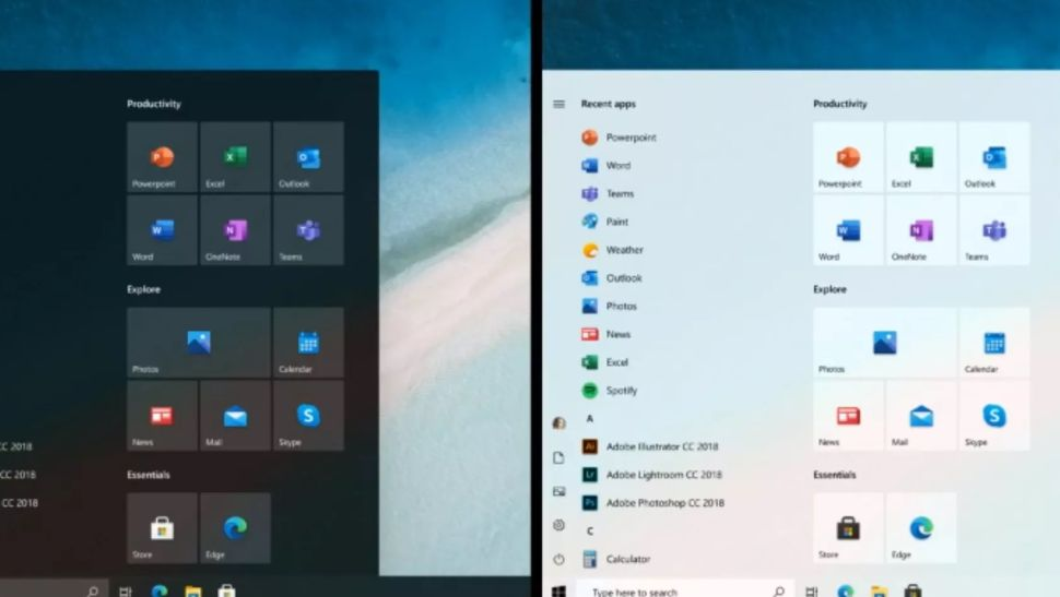 Microsoft shows off redesigned start menu for Windows 10
