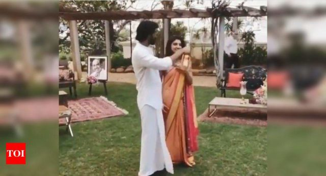 WATCH: Rana brings a bottle of champagne on Roka ceremony