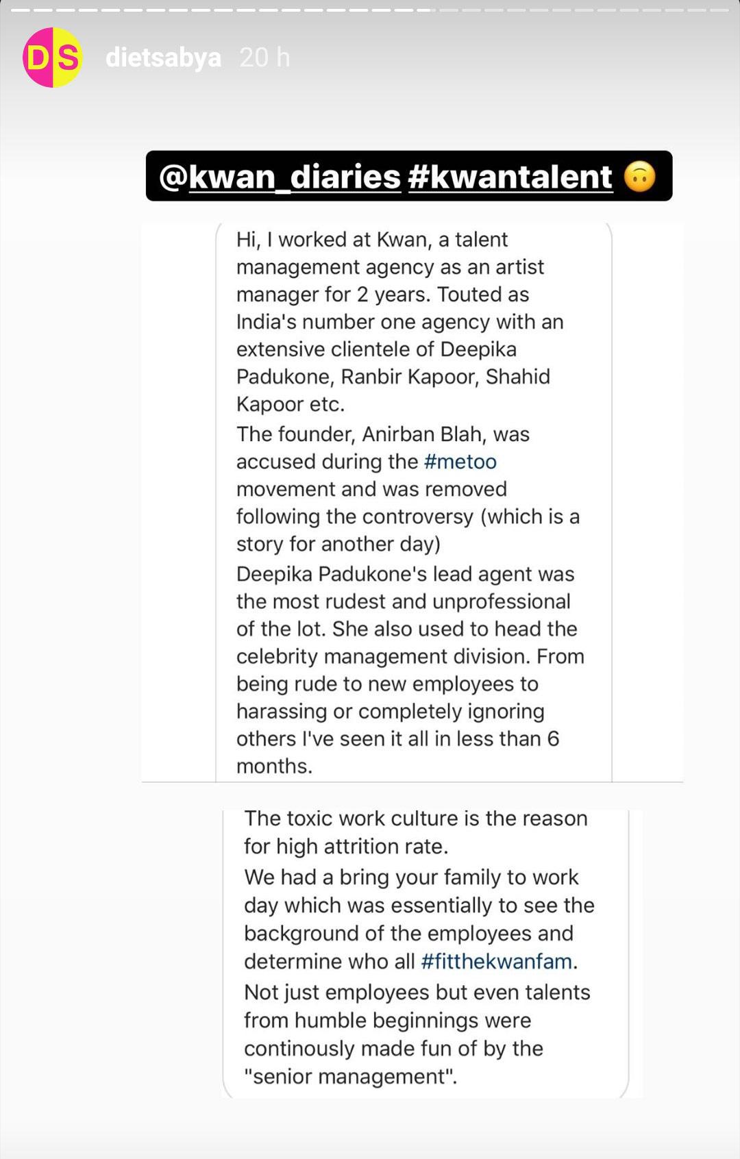 Diet Sabya calls out Deepika Padukone & Ranbir Kapoor's talent agency for harassment and toxic work environments (Photo credit: dietsabya / Instagram)