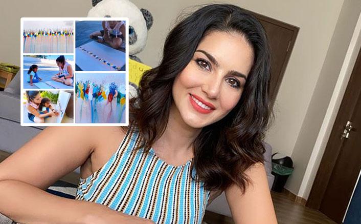 सनी लियोन ने बच्चों निशा, नूह और अशर की पेंटिंग का वीडियो शेयर किया है