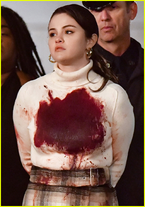 Bloody Selena Gomez In A White Top Got Out By The Cops