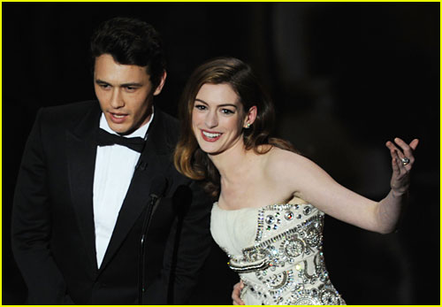 James Franco and Anne Hathaway on stage at the 83rd Academy Awards